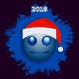 De blauwe kleur van Kerstmissmiley Stock Fotografie