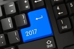 De blauwe Knoop van 2017 op Toetsenbord 3d Royalty-vrije Stock Foto