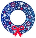 De blauwe kroon van Kerstmis met lint Stock Afbeelding