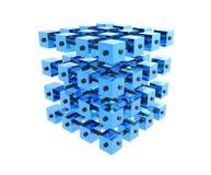 De blauwe Kubussen van Gegevens In entrepot Stock Foto