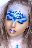 De blauwe kunst maakt omhoog Stock Foto's