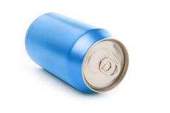 De blauwe lege soda kan stock foto