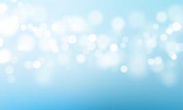 De blauwe lichte bokehgloed schittert of fonkelende vectorachtergrond royalty-vrije illustratie