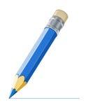 De blauwe lijn van de potloodtekening royalty-vrije illustratie