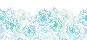 De blauwe lijnkunst bloeit horizontaal naadloos patroon Stock Fotografie