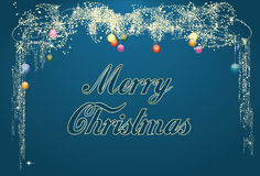 De blauwe Magische Kaart van de Kerstmisgroet Stock Fotografie