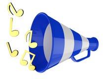De blauwe megafoon met muzieknota's isoleerde 3d illustratie Stock Illustratie