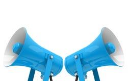 De blauwe megafoons Stock Fotografie