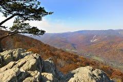 De blauwe Mening van de Bergen van de Rand van de Zitstok van Raven royalty-vrije stock fotografie