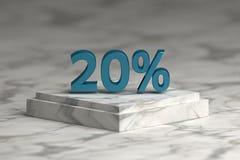 De blauwe metaal glanzende tekst van het 20 percententeken royalty-vrije illustratie