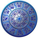 De blauwe MetaalSchijf van de Dierenriem Royalty-vrije Stock Fotografie