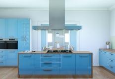 De blauwe moderne illustratie van het keuken binnenlandse ontwerp Royalty-vrije Stock Foto