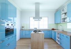 De blauwe moderne illustratie van het keuken binnenlandse ontwerp Royalty-vrije Stock Fotografie