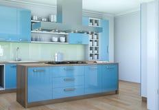 De blauwe moderne illustratie van het keuken binnenlandse ontwerp Stock Fotografie