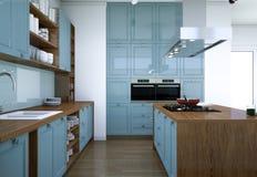 De blauwe moderne illustratie van het keuken binnenlandse ontwerp Royalty-vrije Stock Afbeeldingen