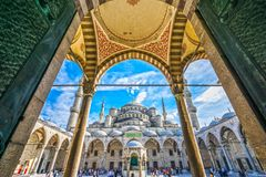 De Blauwe Moskee, Sultanahmet Camii, Istanboel, Turkije stock foto