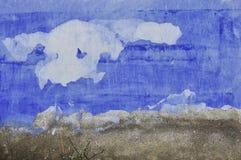 de blauwe muur van het grungecement Stock Foto
