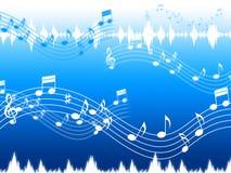 De blauwe Muziekachtergrond betekent Ziel Jazz Or Blues Stock Afbeelding