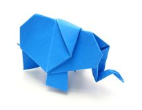 De blauwe olifant van de origami Royalty-vrije Stock Afbeeldingen