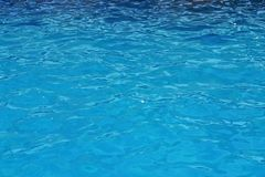 De blauwe oppervlakte van de waterrimpeling De Achtergrond van het poolwater stock fotografie