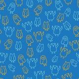 De blauwe oranje leuke achtergrond van het het patroonontwerp van de uilillustratie naadloze vector illustratie