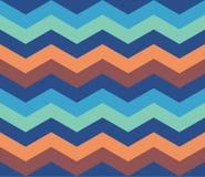 De blauwe Oranje naadloze achtergrond van het Zigzag Retro Patroon Royalty-vrije Stock Foto