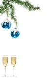 De blauwe ornamenten van de sneeuw roud bal voor Kerstboom met glasse twee Stock Foto