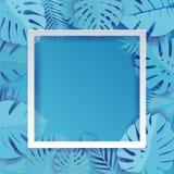 De blauwe Palmbladillustratie Als achtergrond in document sneed stijl De exotische tropische heldere cyaanpalm en monstera van he royalty-vrije illustratie