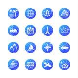 De blauwe pictogrammen van de grungereis Stock Afbeelding