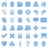 De blauwe Pictogrammen van de Stickers van het Web [1] Royalty-vrije Stock Foto's