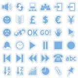 De blauwe Pictogrammen van de Stickers van het Web [3] Stock Afbeeldingen