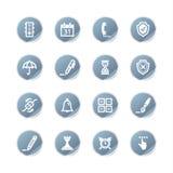 De blauwe pictogrammen van de stickersoftware Stock Foto's