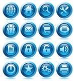De blauwe Pictogrammen van de website Stock Foto's
