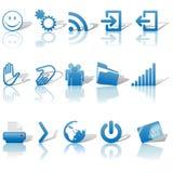 De Blauwe Pictogrammen van het Web Geplaatst Schaduwen & Relections op Wit 2 Royalty-vrije Stock Fotografie