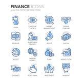 De blauwe pictogrammen van lijnfinanciën Stock Fotografie