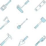 De blauwe pictogrammen voor houtbewerking overhandigen hulpmiddelen Stock Afbeeldingen