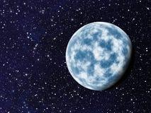 De blauwe planeet met één zijschaduw op kosmos speelt achtergronden mee Stock Afbeeldingen