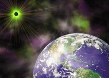 De blauwe planeet van de aarde in ruimte royalty-vrije stock afbeelding