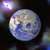 De blauwe planeet van de aarde in ruimte royalty-vrije stock foto