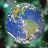 De blauwe planeet van de aarde in ruimte stock fotografie