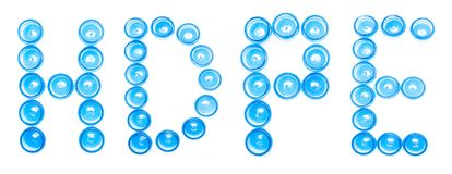 De blauwe plastic kruiken van de tekenbenoeming op een witte achtergrond Hoog woordhdpe, - het dichtheidspolyethyleen, isoleert,  royalty-vrije stock foto