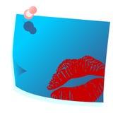 De blauwe post-it van valentijnskaarten Royalty-vrije Stock Afbeelding