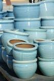 De blauwe Potten van de Bloem Royalty-vrije Stock Foto