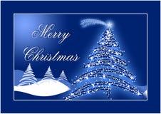 De blauwe prentbriefkaar van Kerstmis Stock Fotografie