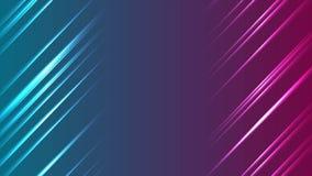 De blauwe purpere het gloeien abstracte videoanimatie van neonlijnen stock video