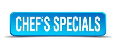 De blauwe realistische vierkant geïsoleerde knoop van chef-koksspecials Royalty-vrije Stock Afbeeldingen