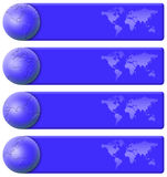 De blauwe reeks van de wereldbanner Royalty-vrije Stock Foto's