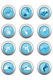 De blauwe Reeks van het Pictogram Stock Foto's