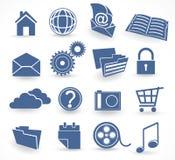 De blauwe reeks van het technologiepictogram Stock Afbeeldingen