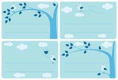 De blauwe reeks van het vogeletiket Stock Afbeeldingen